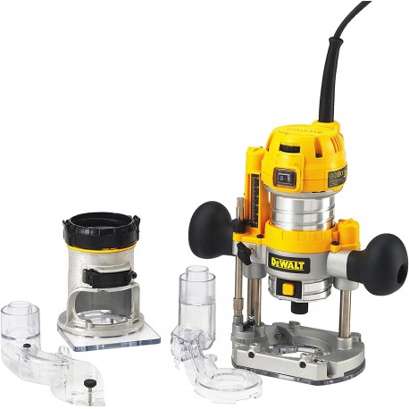 DᴇWALT D26204K-QS Elettrofresatrice con Affondamento e Base Fissa, 8 mm, 900 W