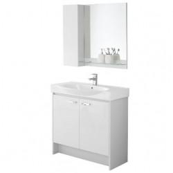 Composizione mobile bagno con consolle specchio pensile mensola due ante 606064