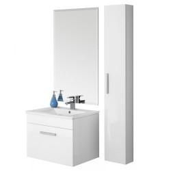 Composizione mobile pensile bagno consolle ceramica specchio mensola 606055