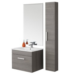 Composizione mobile pensile bagno consolle ceramica specchio mensola 606057